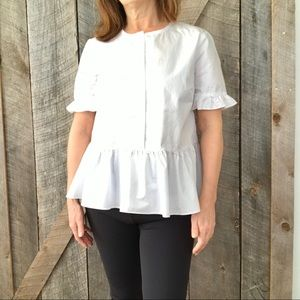 Madewell 💯 cotton top with ruffles